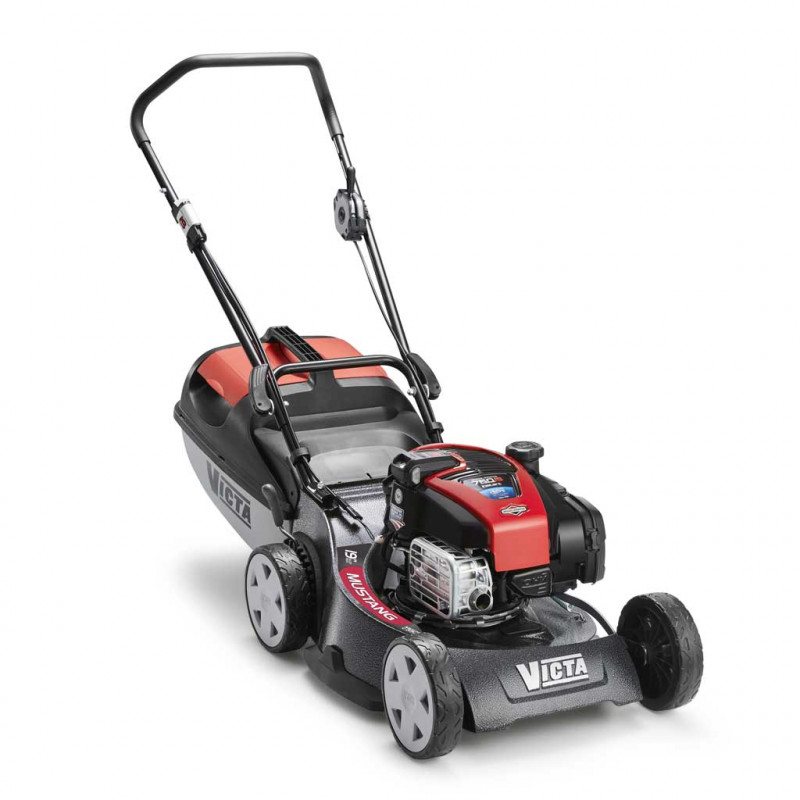 black and red lawn mower with handle and rollers