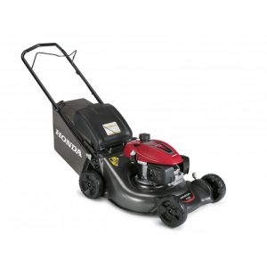 black lawn mower machine with handle and rollers