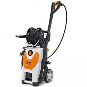 small machine cleaner with black handle and hose or cord on a small reel