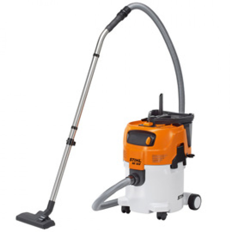 vacuum cleaner machine with a black plastic brush on a long silver stick