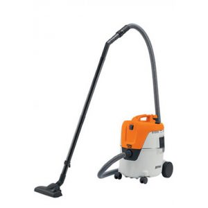 orange vacuum cleaner with a black plastic brush on a long stick