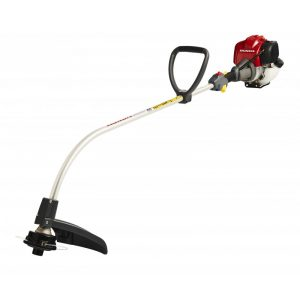 red machine with long curved line trimmer