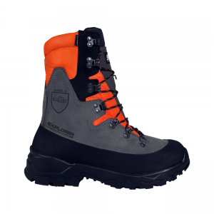 black and orange chainsaw boots