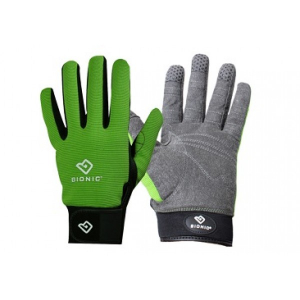 grey and green gloves