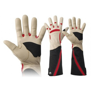 women's red and white gloves