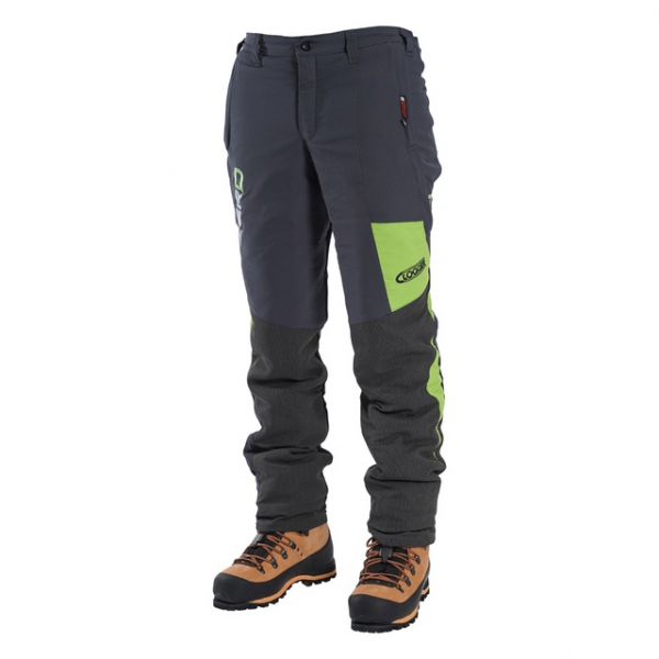 men's grey and green chainsaw trousers
