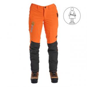 women's orange and black chainsaw pants