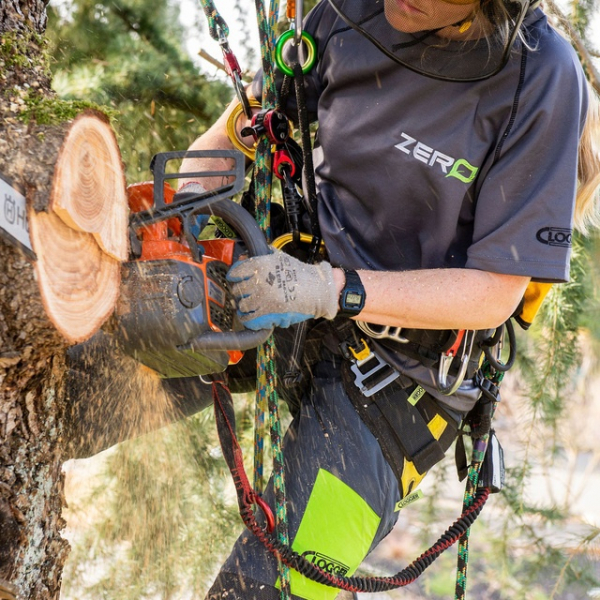 woman wearing a chainsaw trouser
