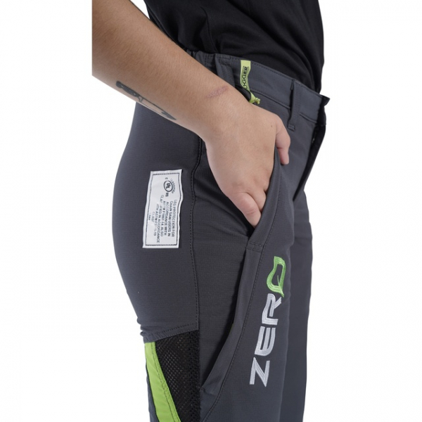 women's grey and green chainsaw trouser side pocket