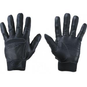 black leathered gloves