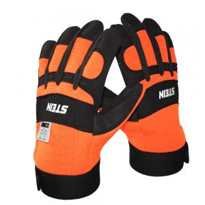 orange and black chainsaw gloves