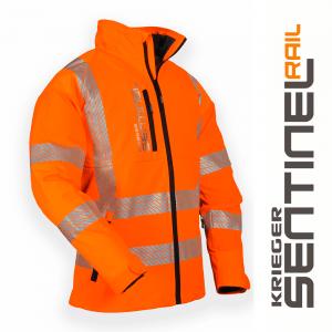 orange rail breathable jacket with reflectors