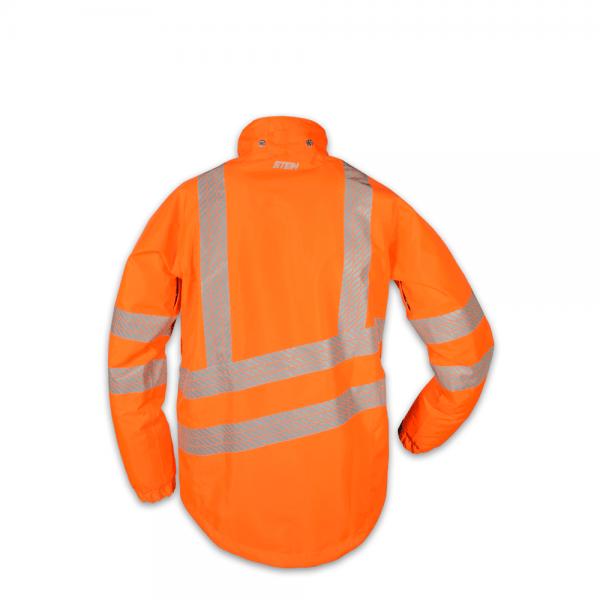 orange work jacket with hood and reflectors