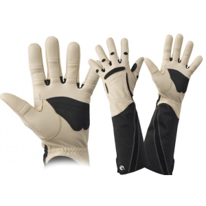men's black and white gauntlet gloves