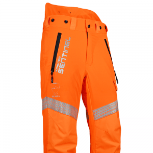 long orange chainsaw trousers with reflectors