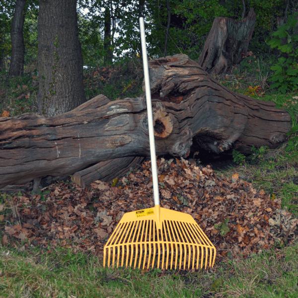 yellow plastic leaf rake