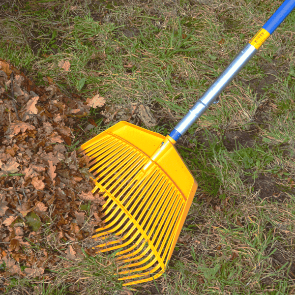 yellow plastic debris rake