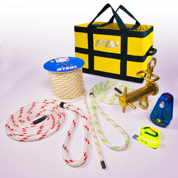 yellow bag with various rope and tools