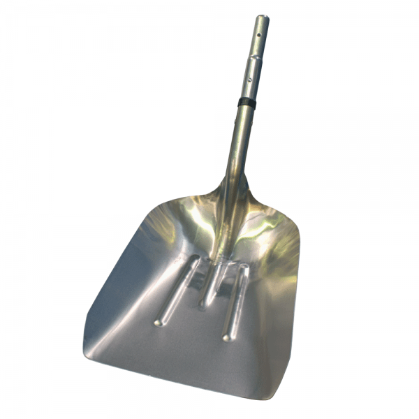 silver woodchip shovel