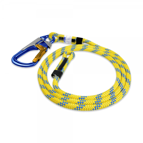 blue and yellow rope with 3-way snap