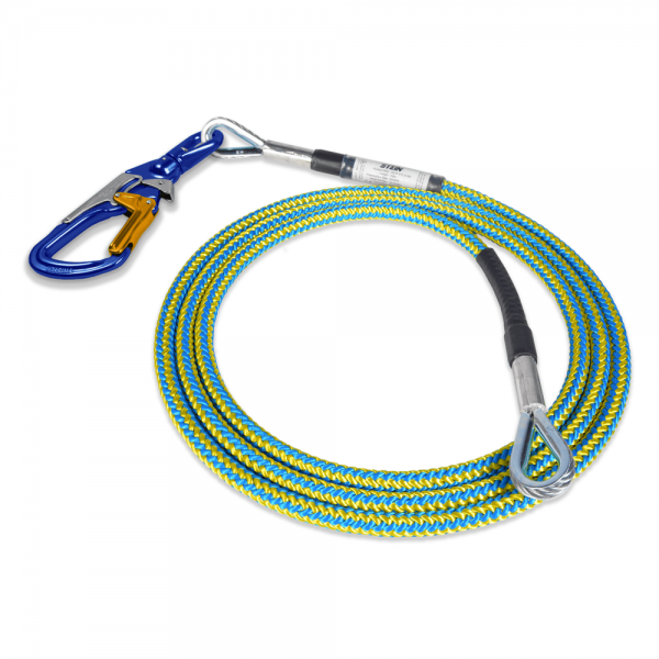 blue and yellow tied rope with two wire core and 3-way snap
