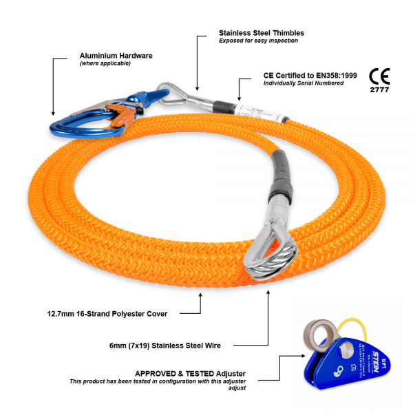 orange rope with two holes and 3-way snap