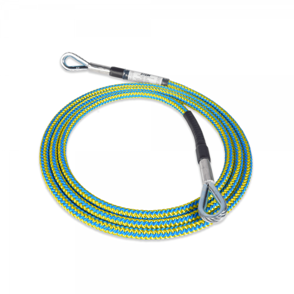 blue and yellow tied rope with two wire core and 3-way snapv