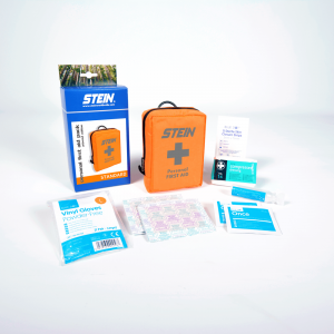 orange bag with first aid pack