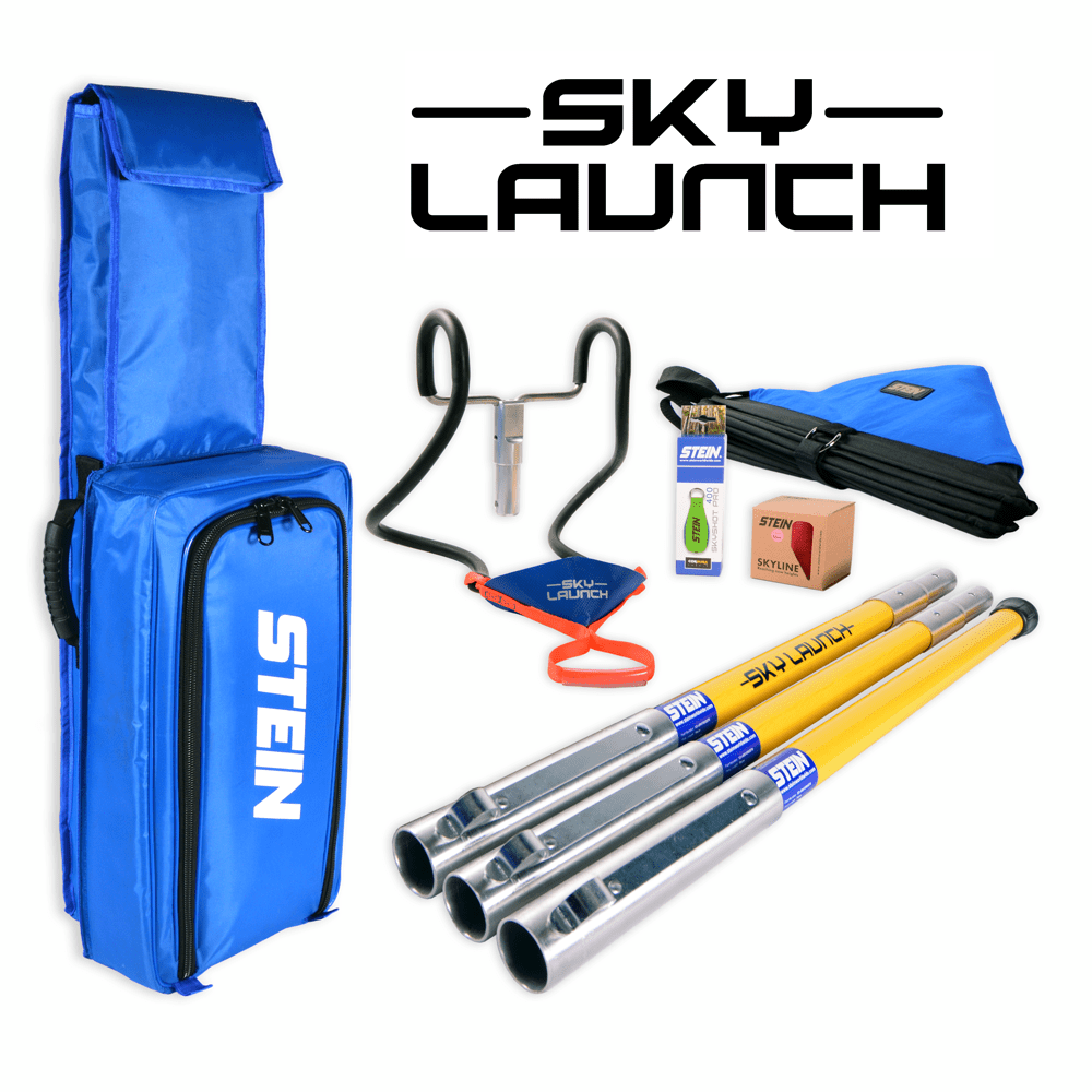 blue bag with three rod and equipment