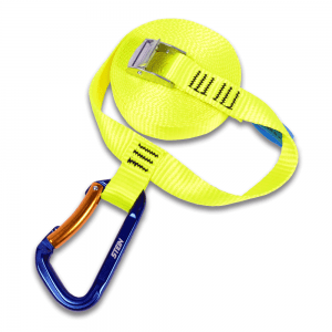 yellow nylon strap with blue clip hook