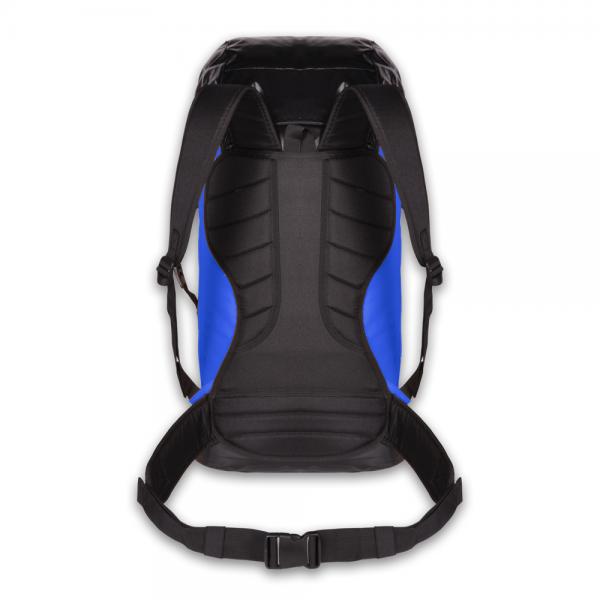 black and blue voyager storage bag