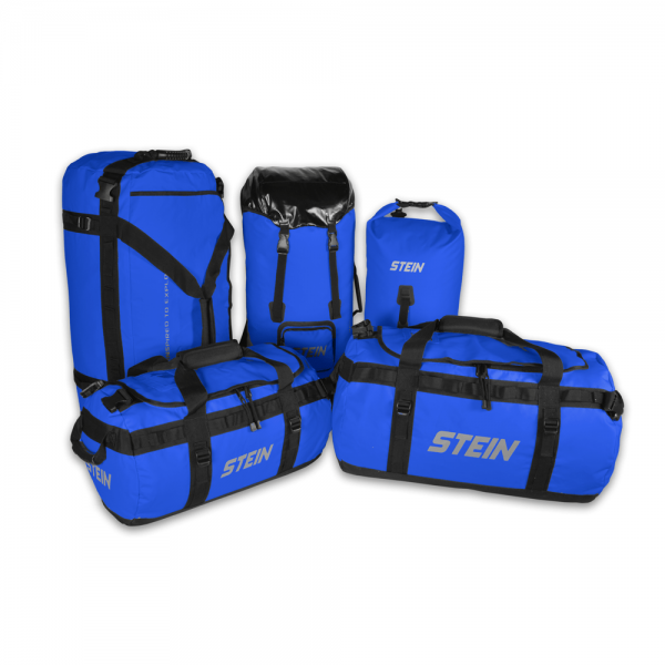 black and blue voyager storage bags