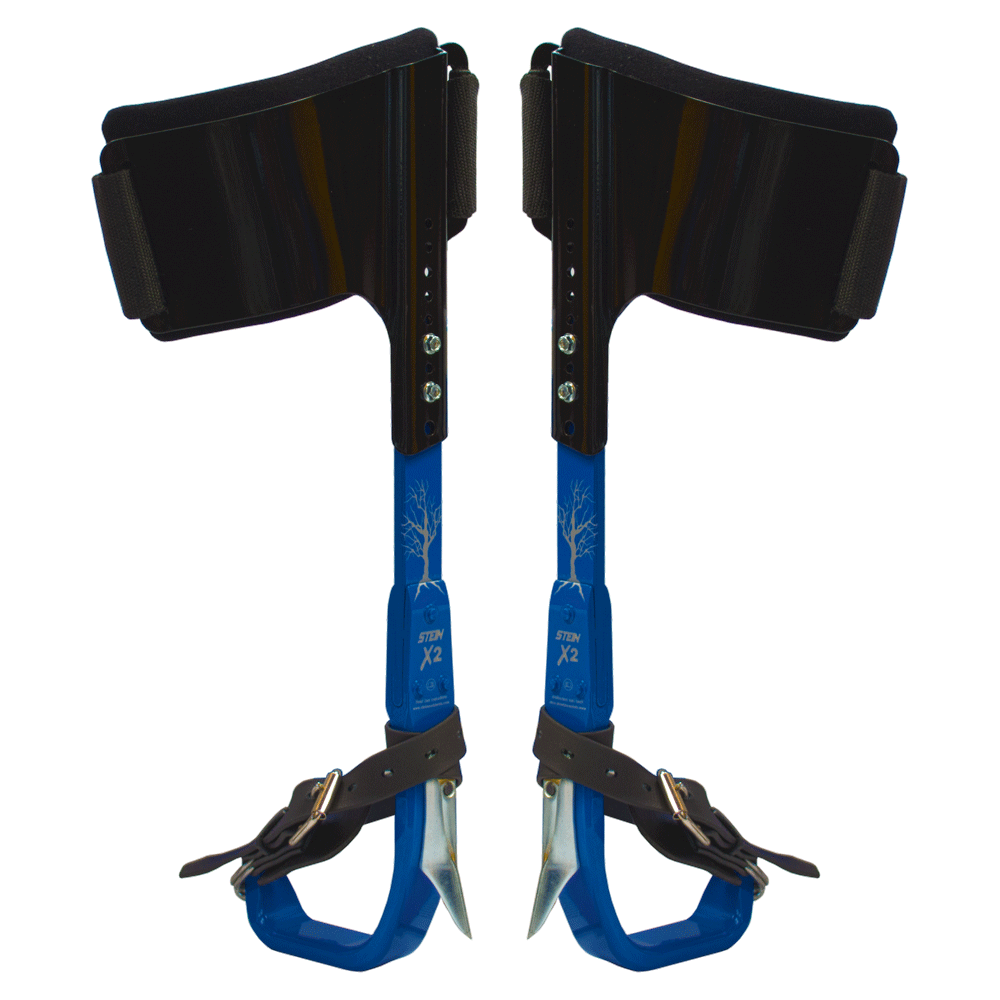 two climber kit fitted with gaffs