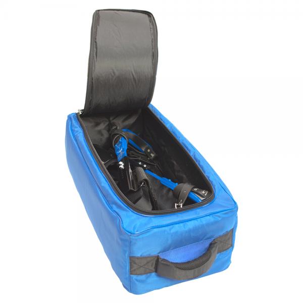 blue climber spurs storage bag
