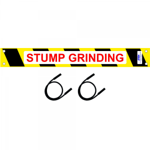 stump grinding sign with two bungees