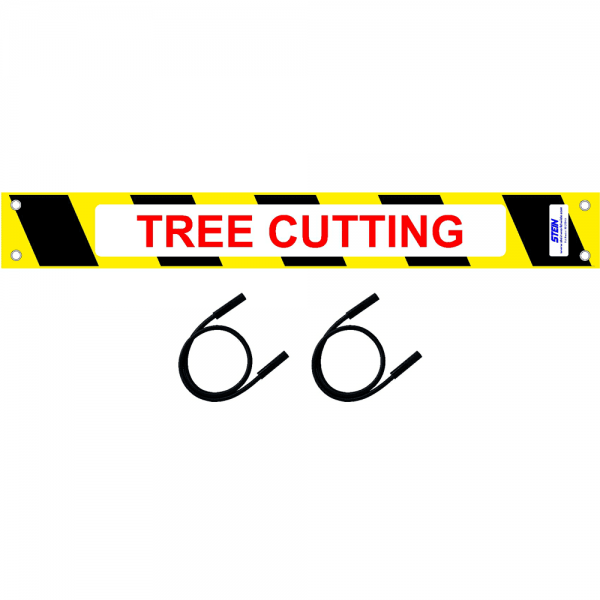 tree cutting sign with two bungees