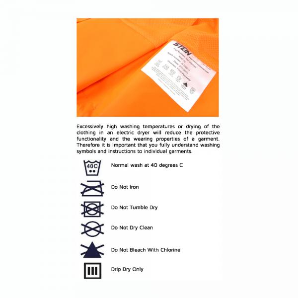 orange hi viz long sleeves label