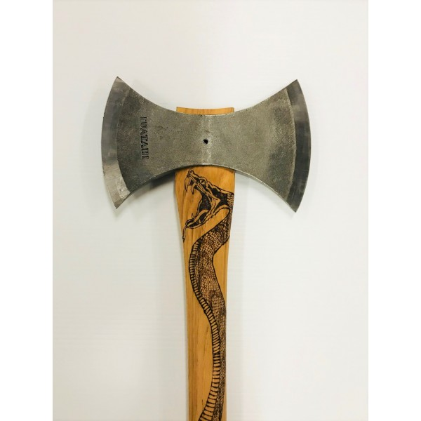 throwing axe with snake print handle