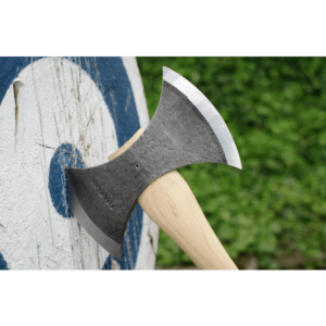 throwing axe with long brown handle