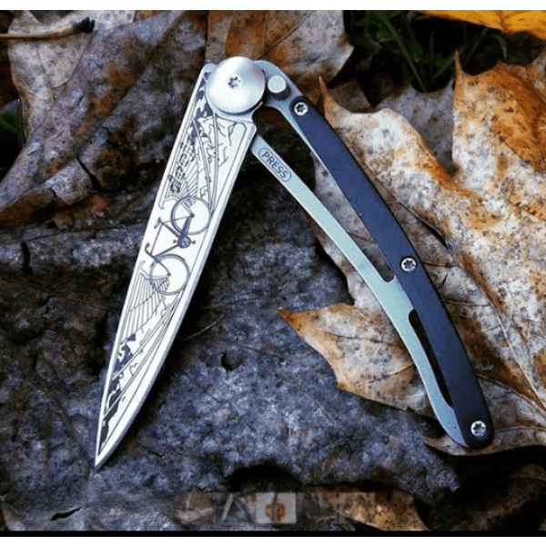 grenadilla knife with bicycle print