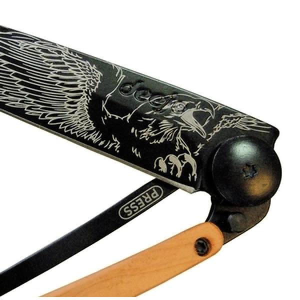 black folding knife with eagle print