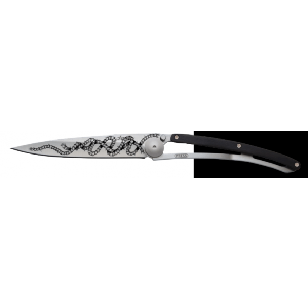 black folding knife with rope print