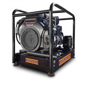 black powdered generator with black metal frame