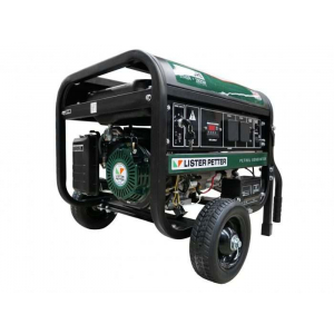 green portable generator with two small wheels and two handles