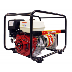 red powered generator with black metal frame